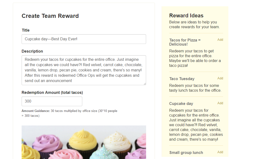 example of the reward create screen