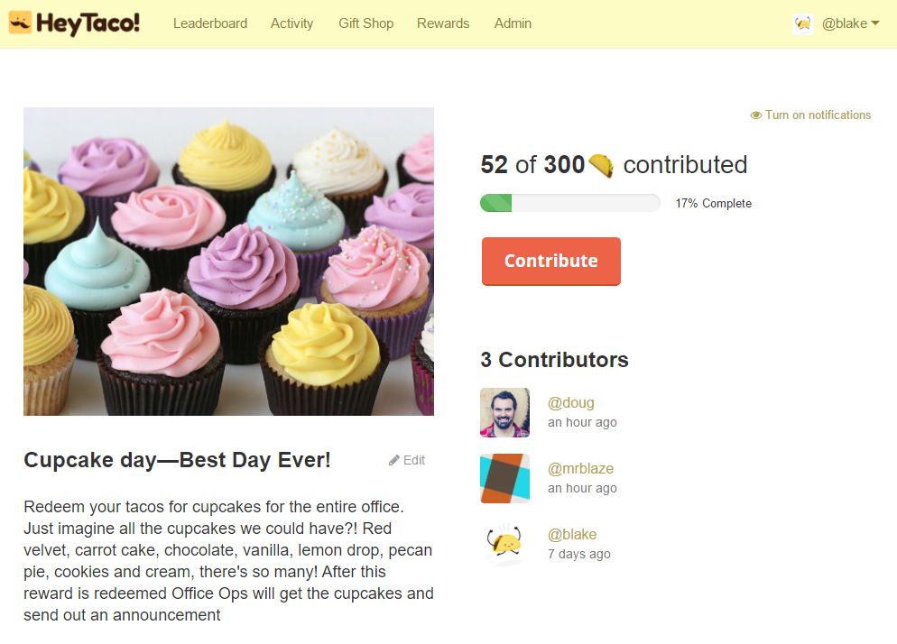 cupcake rewards with contributors