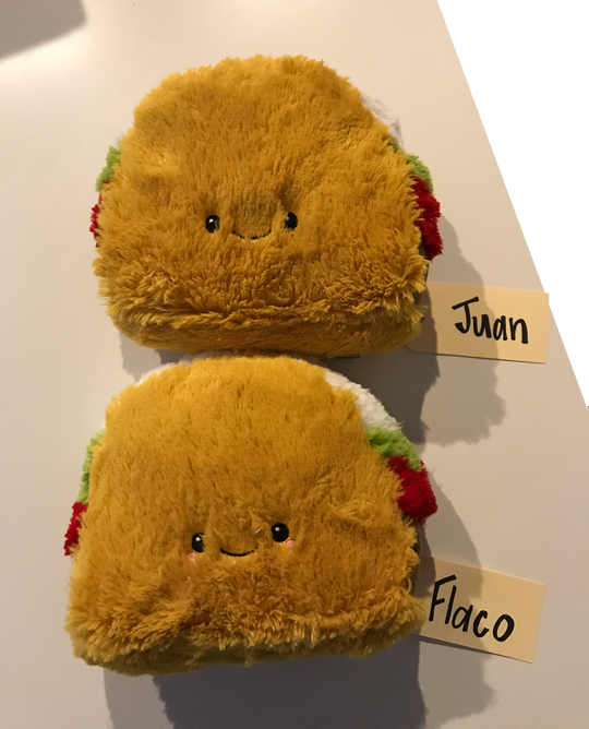 2 stuffed taco pillows cute