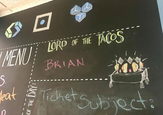 lord of tacos award on chalkboard
